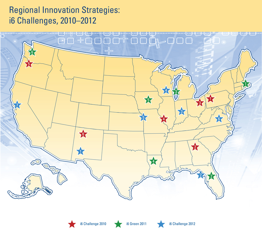 U.S. Map showing EDA Challenge Award Winners for Jobs and Innovation Accelerator Challenge Projects, i6 Green and i6 Challenge 2010