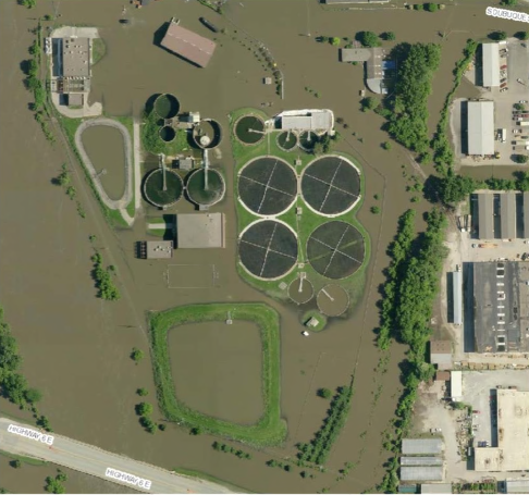 Picture of flooded Iowa City, IA North Wastewater Treatment Plant. (Source: Iowa Homeland Security and Emergency Management)