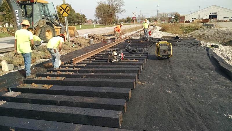 Construction workers build new rail line at America's Central Port. Courtesy of Tri-City Regional Port District